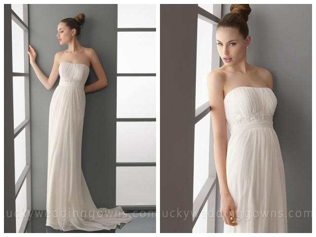 wedding photo - Modern Summer Simple Empire Waist Column Wedding Dress