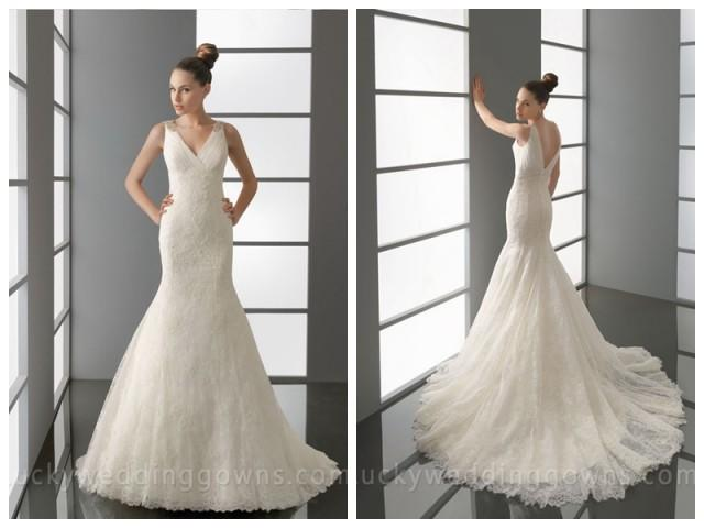 wedding photo - V Neck and Back Embroidered Trumpet Wedding Dress with Wide Straps