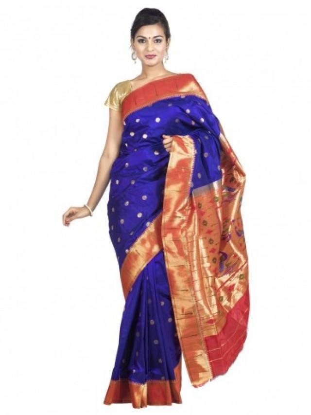 Blue Muniya Border Paithani Saree 2460204 Weddbook