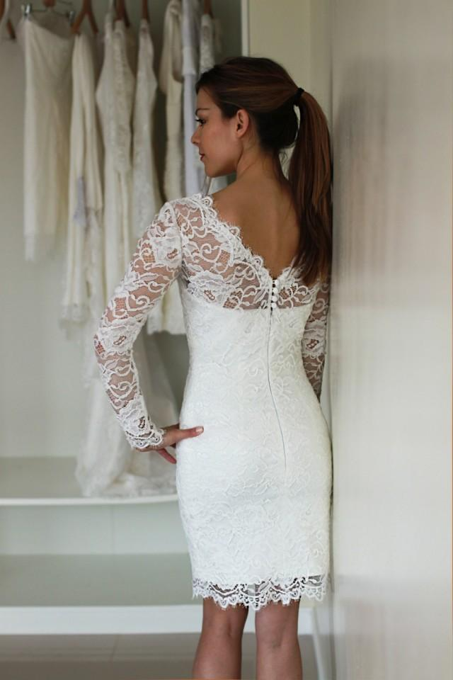 Short wedding dress with sleeves reception dress french for Dresses to wear to wedding reception