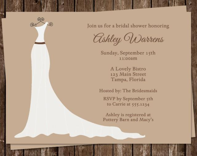 Bridal shower invitations wedding dress tan white set for Wedding dress bridal shower invitations