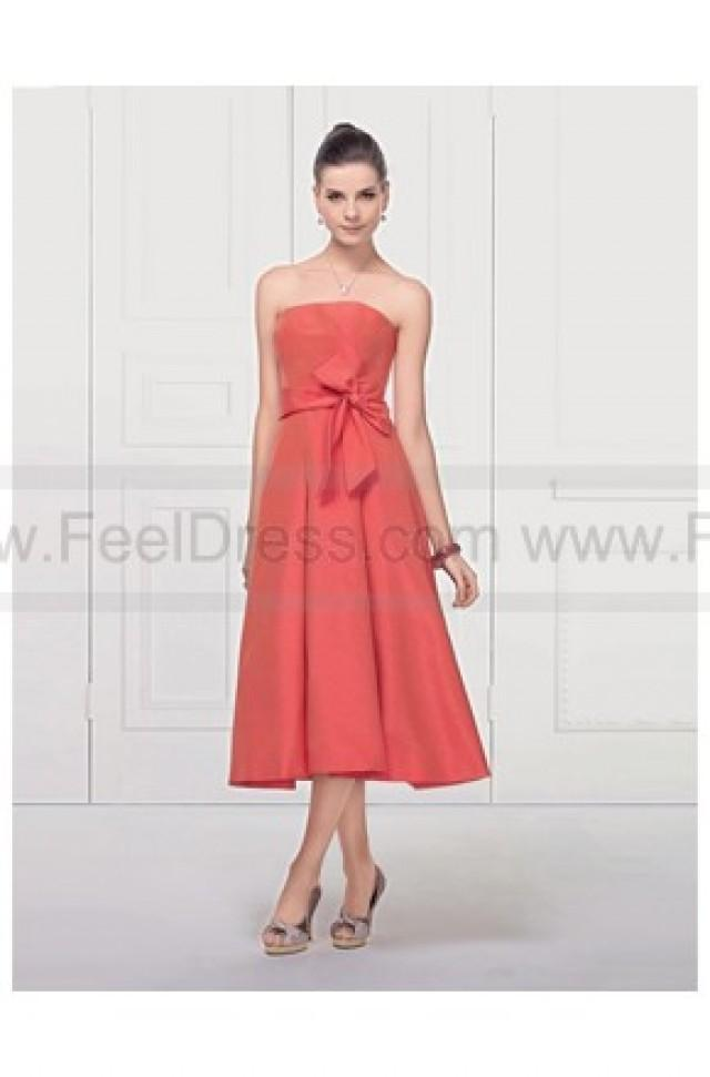 wedding photo - Strapless Tea length Bowknot Front Satin Bridesmaid Dress 2011