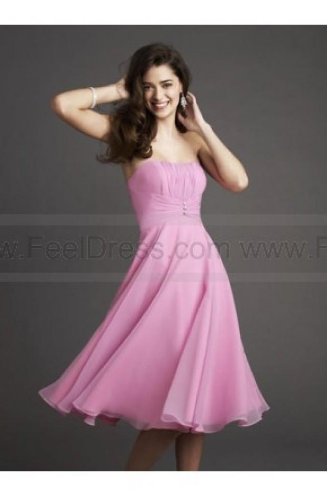 wedding photo - Strapless Satin Chiffon Knee Pink Length Bridesmaid Dress