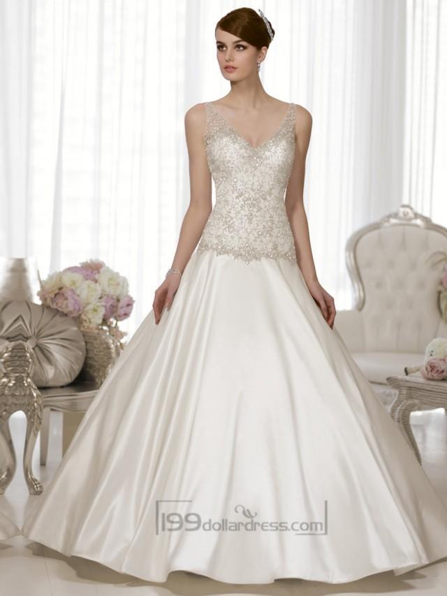 Straps v neck a line hand beaded bodice vintage wedding for Hand beaded wedding dresses