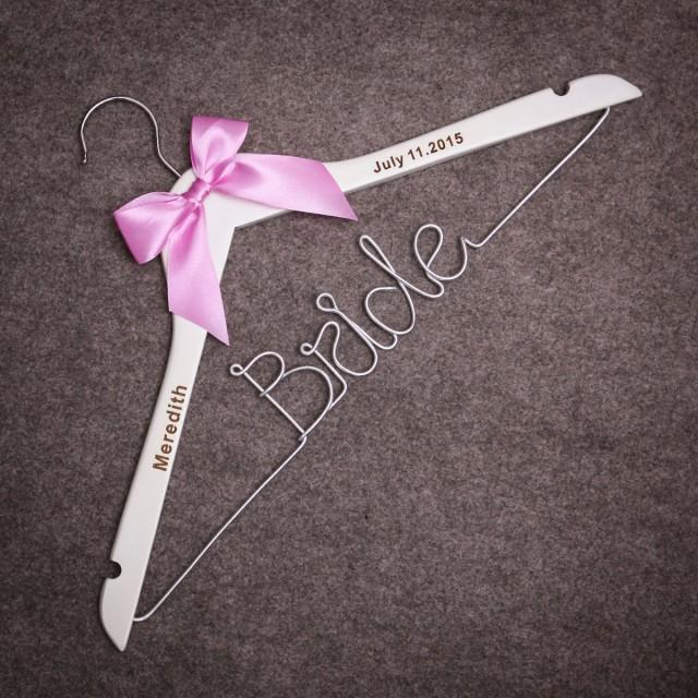 Wire hanger personalized wire hanger for the bride or for Personalized wire wedding dress hanger