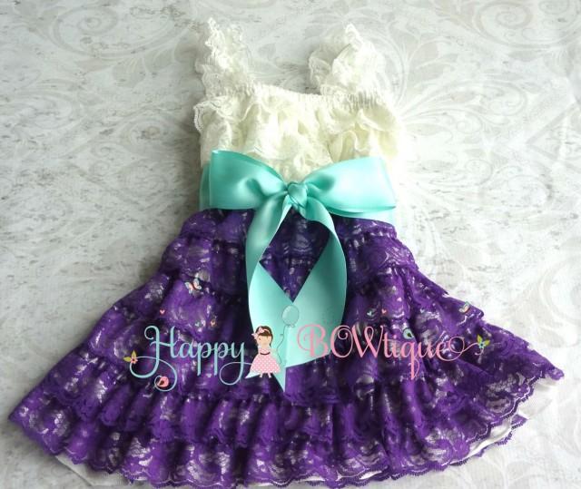 wedding photo - Flower girl dress- Purple Ivory Aqua Bow Lace Dress, baby girl dress,Rustic wedding dress,baby dress,flower girl dress,Purple dress,Birthday