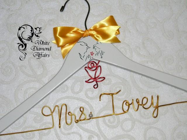 Personalized Disney Wedding Gifts: Beauty & The Beast Themed Wedding Hanger, Disney Princess