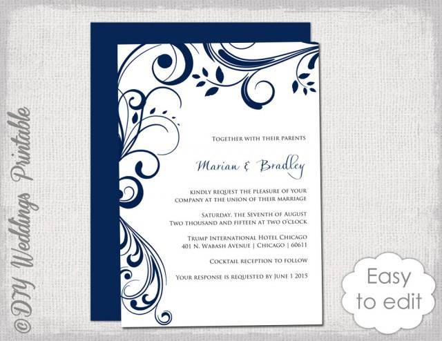 "Digital Wedding Invitation Ideas: Navy Wedding Invitation Template ""Scroll"""