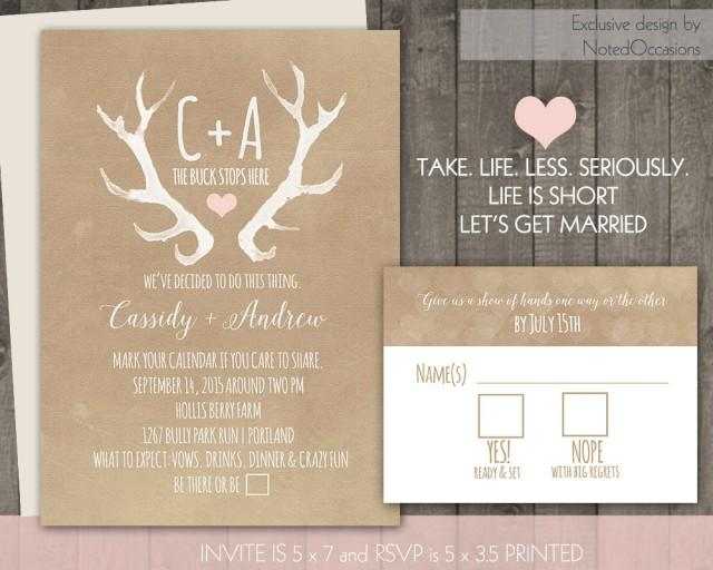 wedding photo - Deer Antlers Rustic Wedding Invitation Set Casual