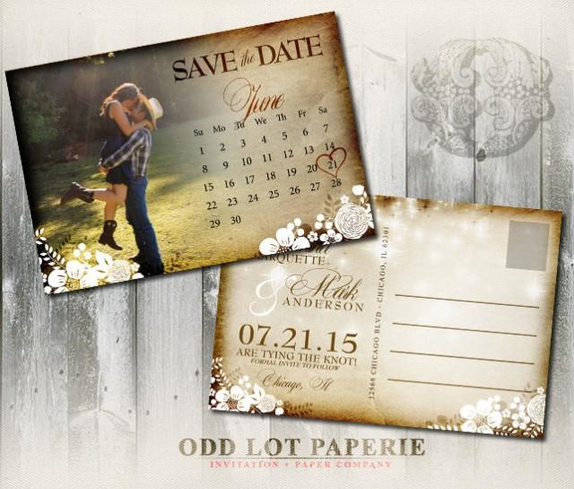 wedding photo - Printable Rustic Save the Date Postcard