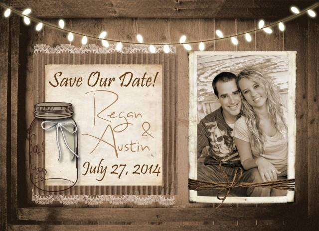 wedding photo - Rustic and Lace Save the Date, Mason Jar, Lights, Wood Fence, Photos, Digital File, Printable, 5x7