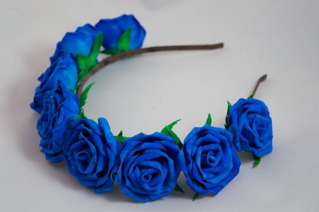 wedding photo - The blue rose  hair band foam wreath gift for girl and woman floral boho wedding couronne fleur accessory for a photo shoot rustic bride