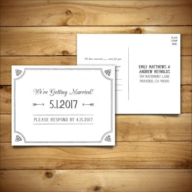 printable wedding postcard rsvp response card template dark grey white instant download. Black Bedroom Furniture Sets. Home Design Ideas