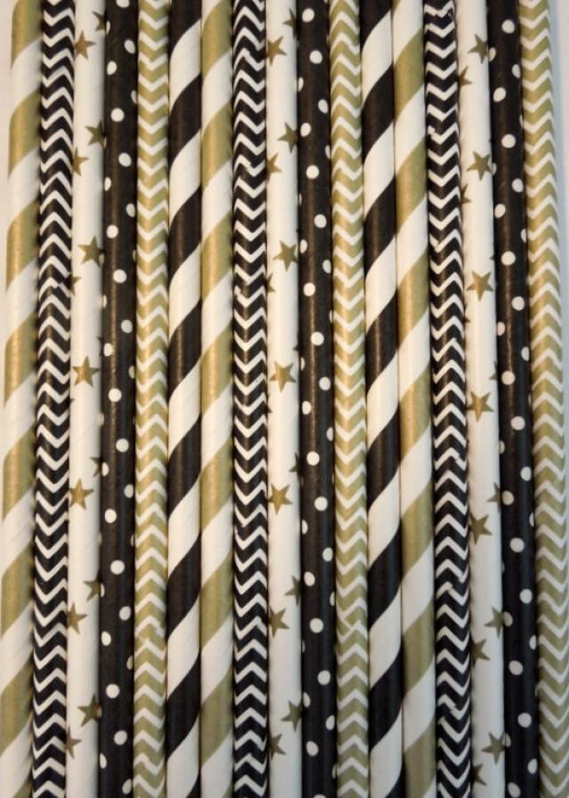 50 Black Gold Paper Straws Wedding Decor 40th Birthday Decoration Striped Cocktail Party 2461641