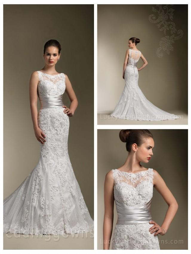 wedding photo - Sparkle Embroidered Lace Sweetheart Neck Wedding Dress with Trumpet Skirt