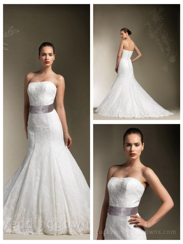 wedding photo - Traditional Strapless Lace Designer Mermaid Wedding Dress with Satin Ribbon
