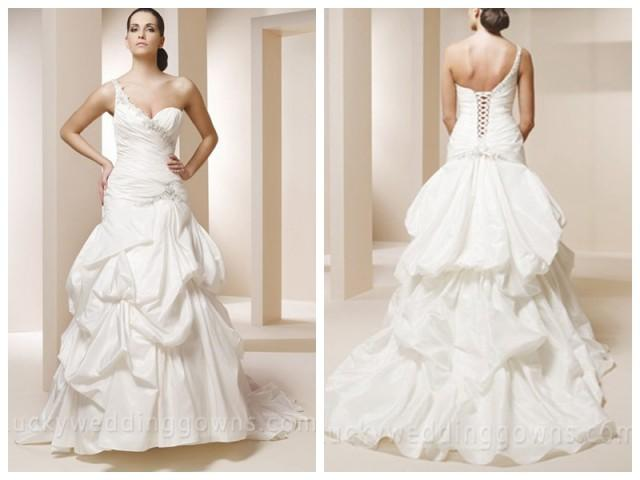 wedding photo - One Shoulder Taffeta Mermaid Wedding Dress with Pick-up Skirt
