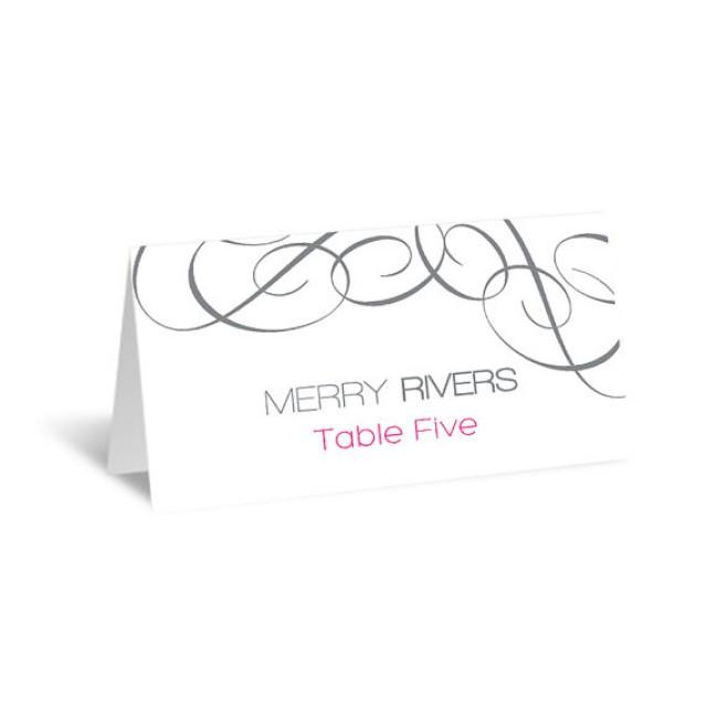 wedding photo - Place Card Editable PDF Template - Silver Swrils Wedding Foldover Escort Card - Instant Download - Adobe Reader Format - DIY You Print