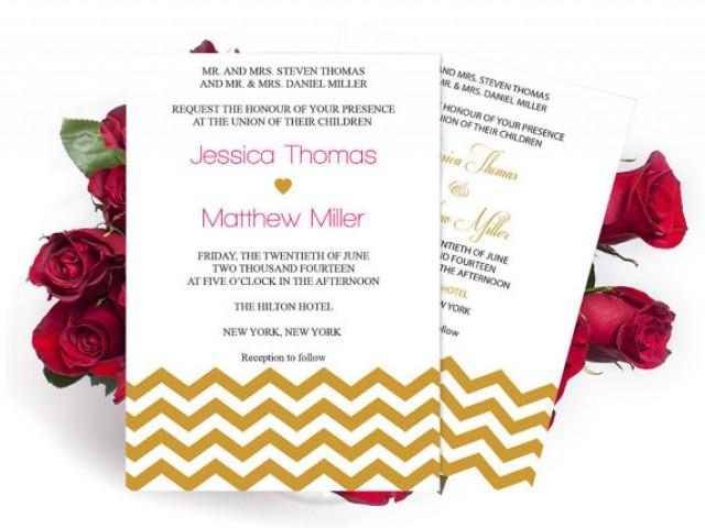 wedding photo - Wedding Invitation Templates - Gold Chevron Printable Wedding Invitation Template - 5 x 7 Editable PDF - Instant Download - DIY You Print