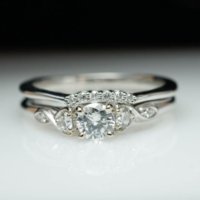 Beautiful Diamond Engagement Ring Amp Wedding Band Set 14k White Gold Complete Bridal Ring Set