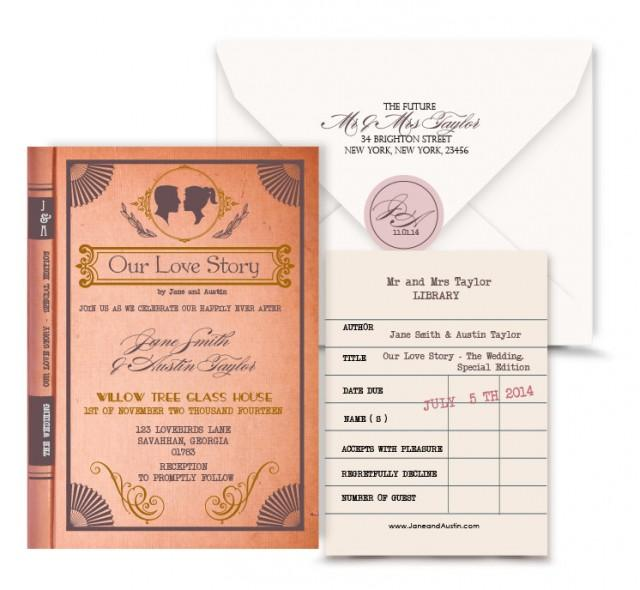Vintage Book Wedding Invitation Digital Custom PDFLove Story Library Card Response Card
