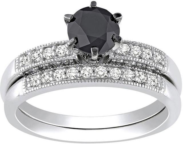 FINE JEWELRY 1 1 3 CT T W Black & White Diamond Bridal Ring Set
