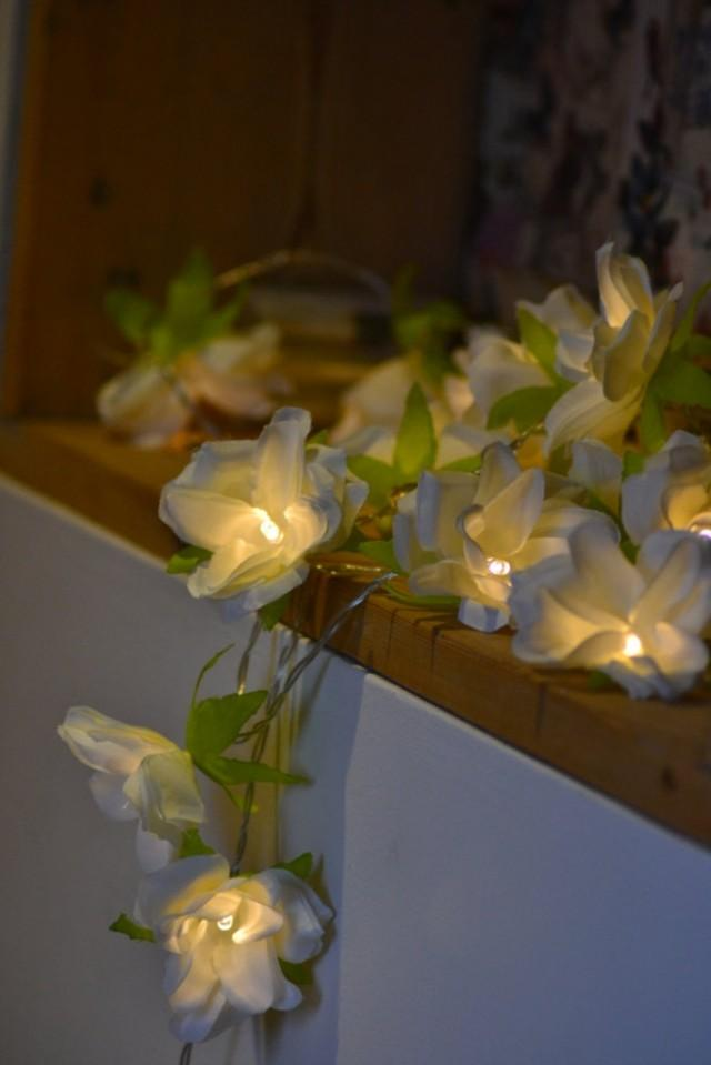 new 20 ivory cream led battery rose flower fairy string