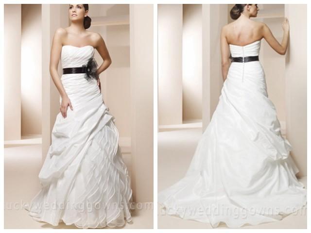 Trumpet Wedding Dress With Sweetheart Neckline And Black Sash 2463173