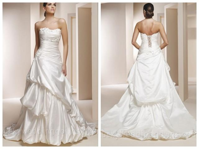 wedding photo - Beaded Strapless Satin Wedding Dress with Pick-up Skirt