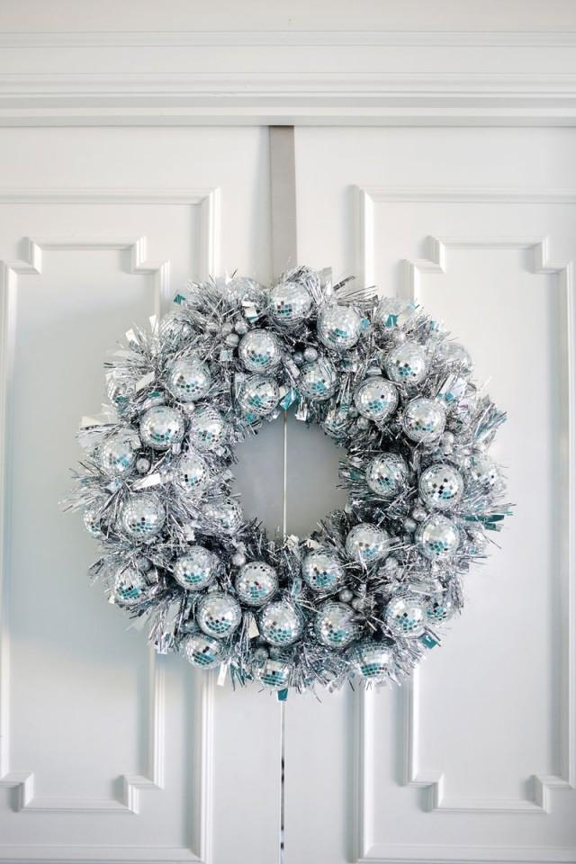 wedding photo - Try This: Disco Ball Wreath