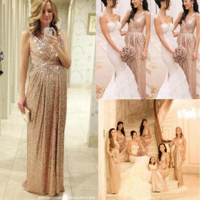 Cheap Sexy V Neck Bling Rose Gold Sequins Bridesmaid Dress