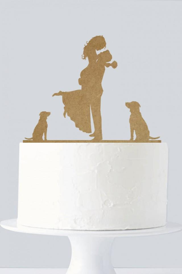 Bride Groom And  Dogs Cake Topper