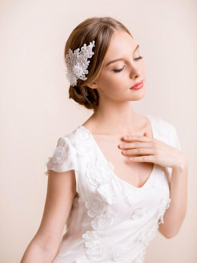 wedding photo - Bridal Hair Piece of Lace in Silver