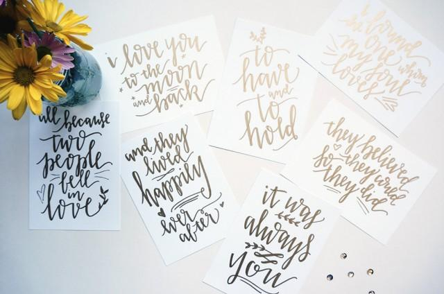 Custom gold handwritten wedding table signs with love