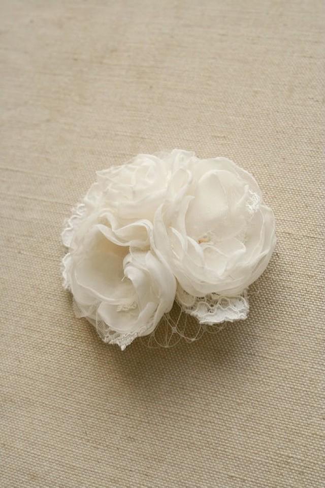 Bridal Ivory Flower Hair Accessories : Bridal hair piece wedding headpiece lace flower clip ivory