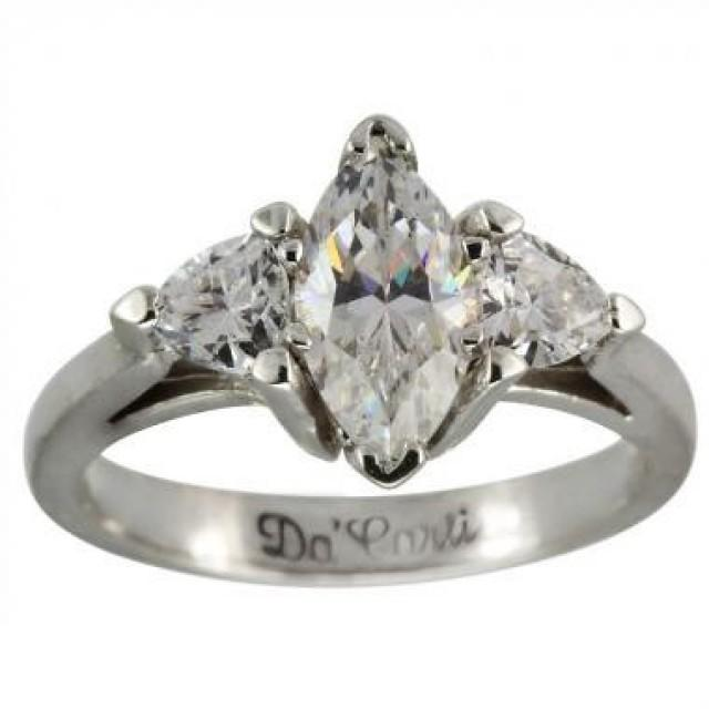 3 4ct Marquise Set In Engagement Ring With 2 Trillion Diamond Side Stones 0 3