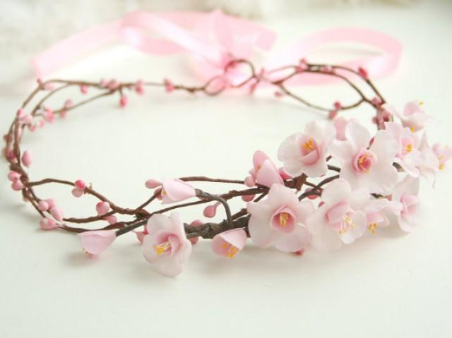 wedding photo - Cherry Sakura blossom crown, bridal flower crown, wedding flower crown, pink flower crown, Bridal headpiece, spring wedding