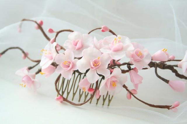 wedding photo - Wedding flower comb, Cherry blossom comb, Bridal flower comb, Bridal flower headpiece, Bridal hair flower, spring wedding, sakura blossom