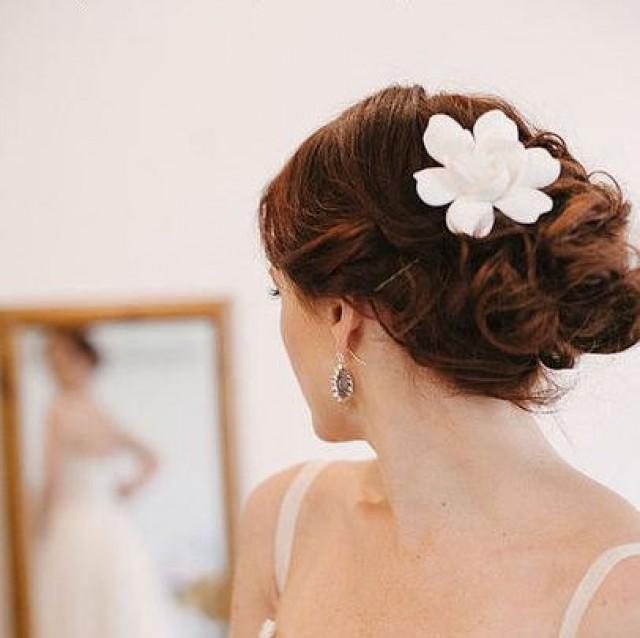 wedding photo - Bridal hair flower Gardenia. Bridal flower hair clip. Wedding hair flowers. Bridal hair clip. Hair clay flower. Bridal hair accessory
