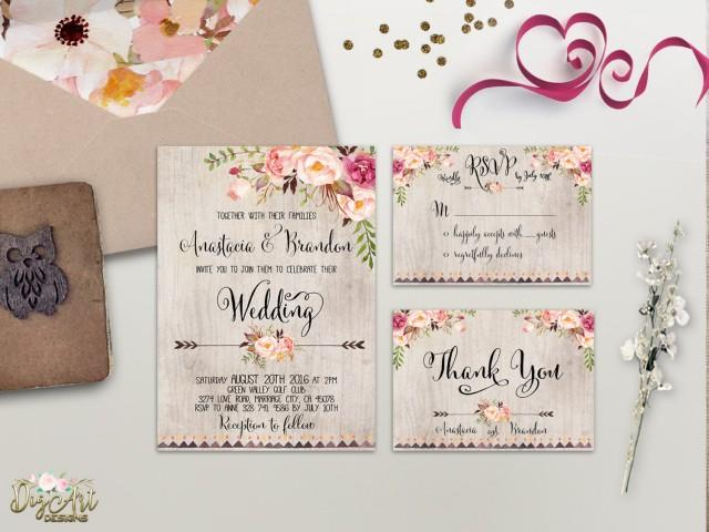wedding photo - Floral Wedding Invitation Printable Wedding Invitation Suite Rustic Wedding Invite Boho Wedding Invite Peonies Wedding Invite Digital File