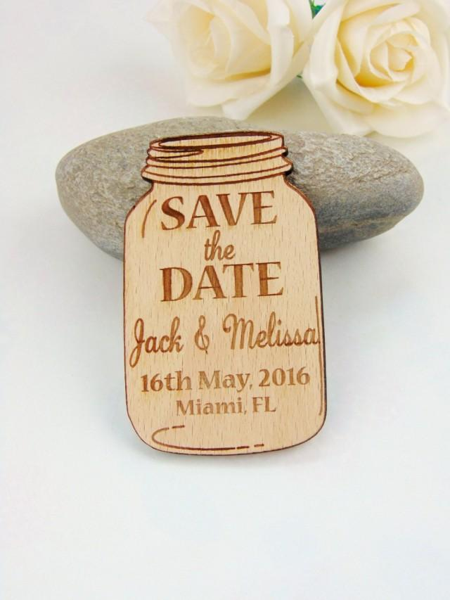 wedding photo - Custom Save the Date Magnet Set, Wood Save the Date, Wedding Save the Date, Wedding Accessories, Wooden Tags, Wedding favors, Mason Jar