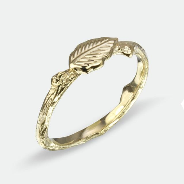 wedding ring leaf ring stackable yellow gold alternative wedding