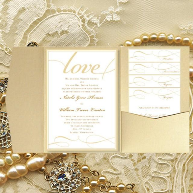 diy pocket wedding invitations its love champagne gold printable card templates all colors all seasons make your own diy you print 2465597 weddbook - How To Print Your Own Wedding Invitations
