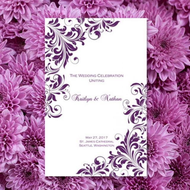 Wedding Program Template Purple Kaitlyn Order Any Color Make Your Own Ceremony Programs Worddoc Instant Download DIY You Print 2465671