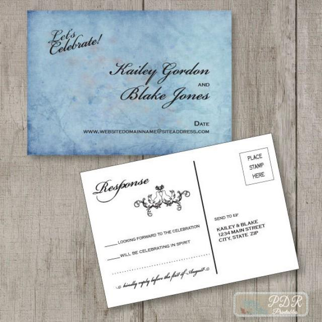 Printable Reply Postcard, Wedding Rsvp Card, Custom Response