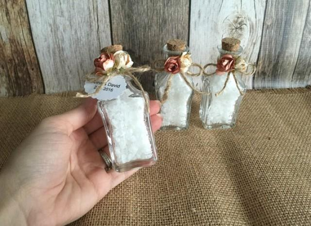 wedding photo - Rustic Wedding favors - bath salt glass wedding favor bottles- bridal shower favors with personalized tags.