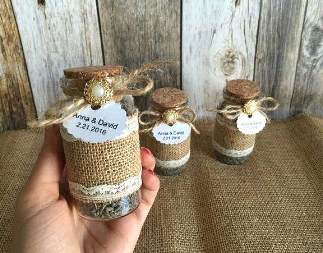 wedding photo - Rustic Wedding favors - lavender filled burlap and lace glass bottles - bridal shower favors with personalized tags.