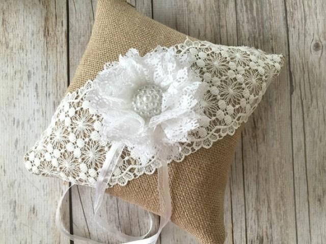 wedding photo - rustic white lace and burlap ring bearer pillow handmade flower pearl button.