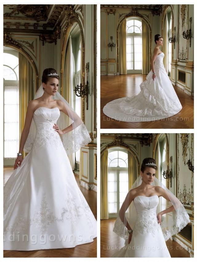 wedding photo - Crystal Organza A-line Bridal Wedding Gown with Basque Waistband