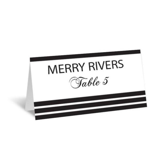 wedding photo - Stripes Wedding Place Card Editable PDF Template - Foldover Black Striped Printable Escort Card - Avery 5302 - DIY You Print